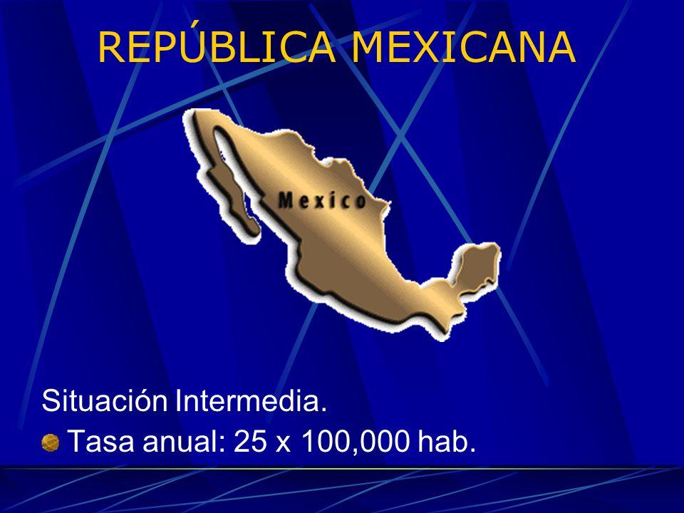 REPÚBLICA MEXICANA Situación Intermedia. Tasa anual: 25 x 100,000 hab.