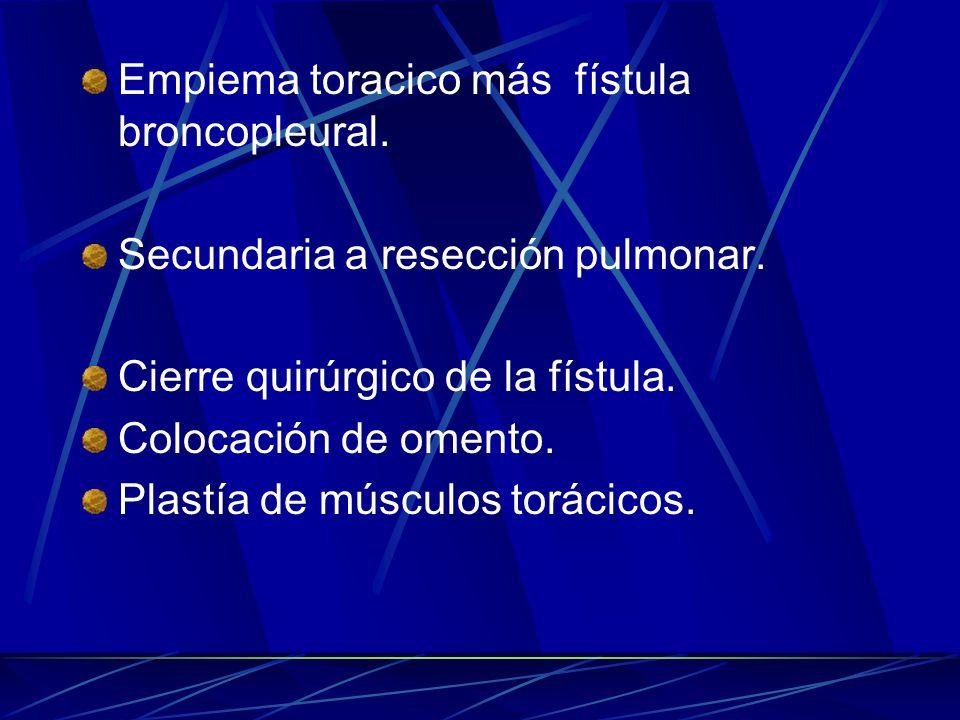 Empiema toracico más fístula broncopleural.