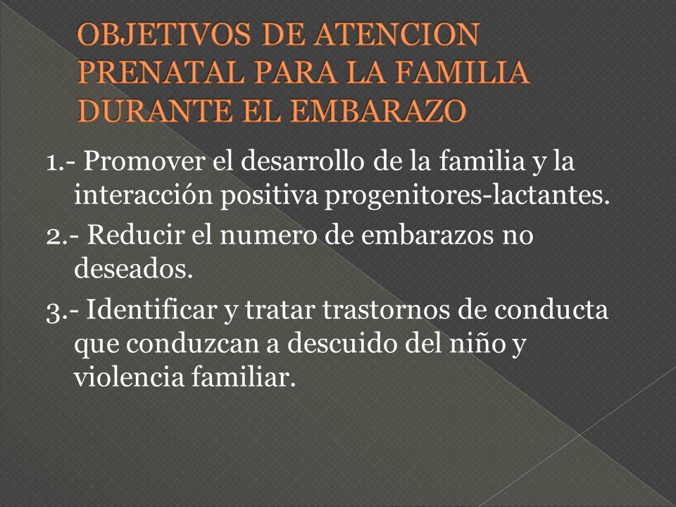 OBJETIVOS DE ATENCION PRENATAL PARA LA FAMILIA DURANTE EL EMBARAZO