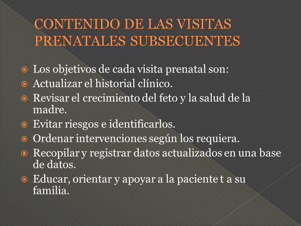 CONTENIDO DE LAS VISITAS PRENATALES SUBSECUENTES