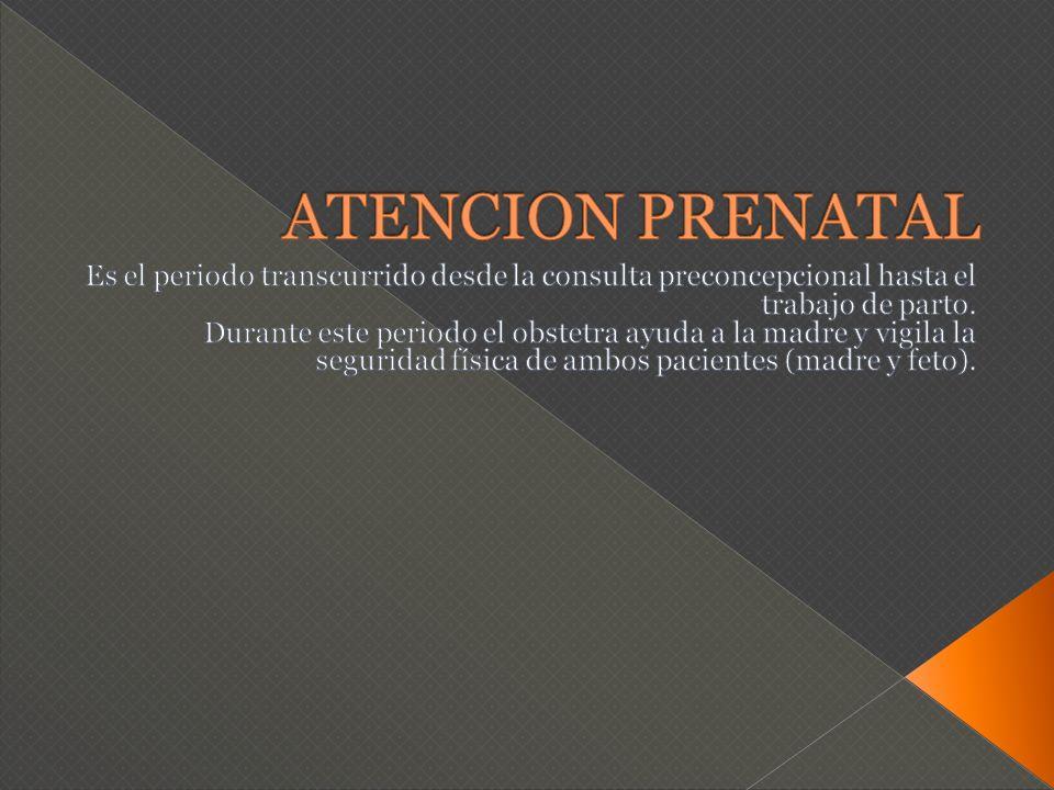 ATENCION PRENATAL Es el periodo transcurrido desde la consulta preconcepcional hasta el trabajo de parto.