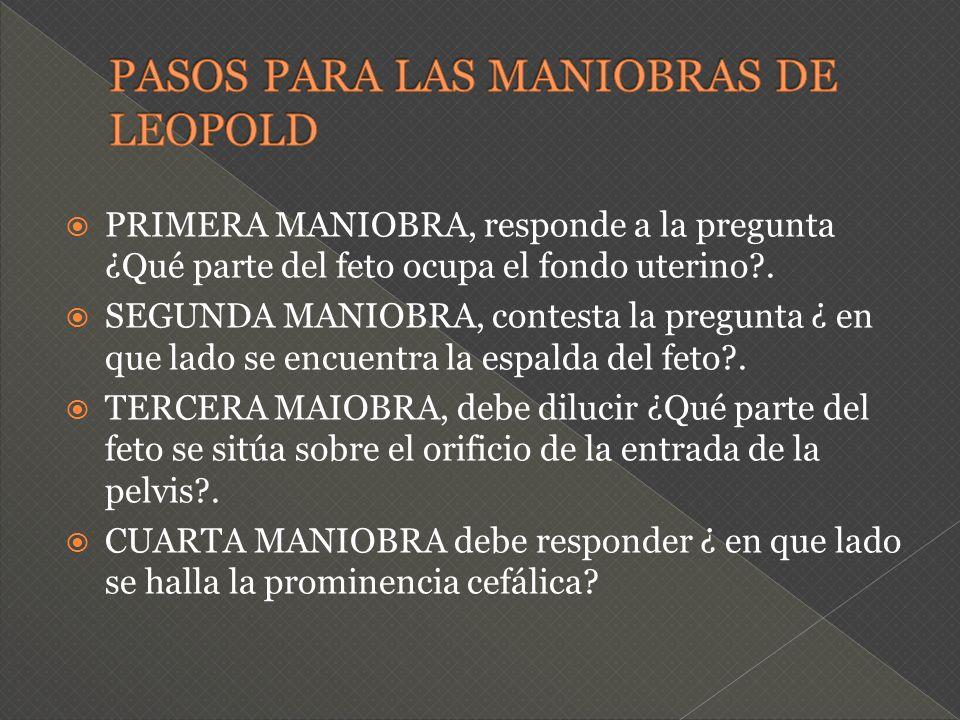 PASOS PARA LAS MANIOBRAS DE LEOPOLD