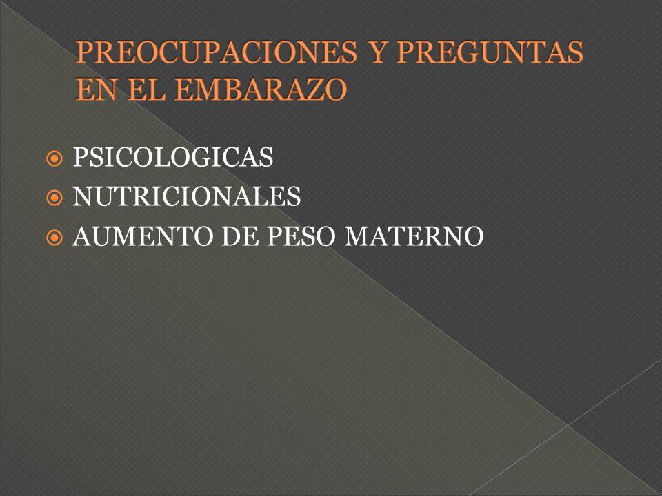 PREOCUPACIONES Y PREGUNTAS EN EL EMBARAZO