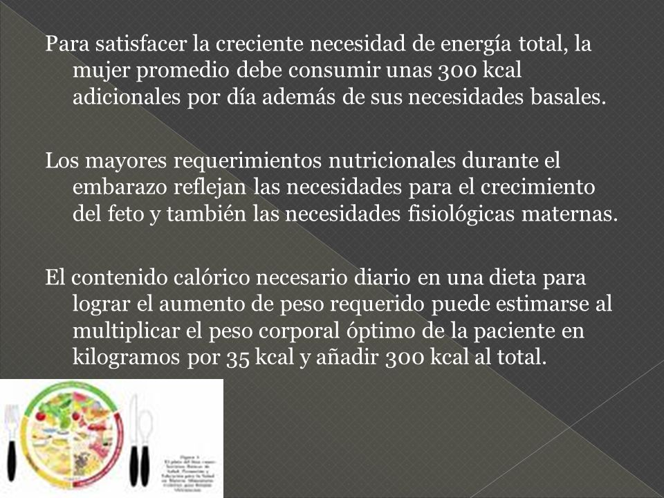 Para satisfacer la creciente necesidad de energía total, la mujer promedio debe consumir unas 300 kcal adicionales por día además de sus necesidades basales.
