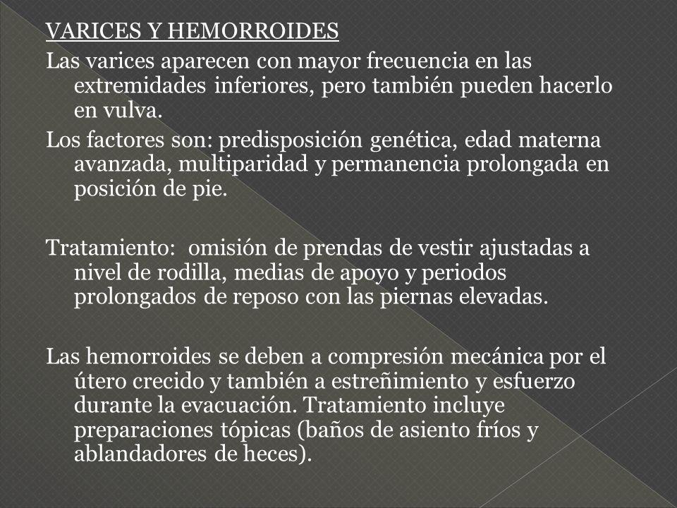 VARICES Y HEMORROIDES Las varices aparecen con mayor frecuencia en las extremidades inferiores, pero también pueden hacerlo en vulva.