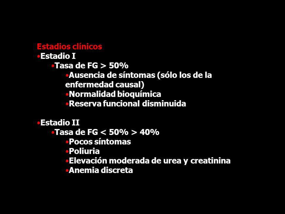 Estadios clínicos Estadio I. Tasa de FG > 50% Ausencia de síntomas (sólo los de la enfermedad causal)