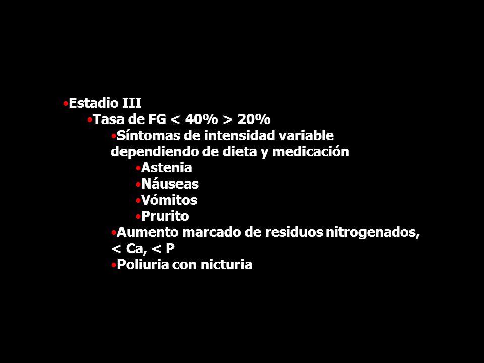 Estadio III Tasa de FG < 40% > 20% Síntomas de intensidad variable dependiendo de dieta y medicación.