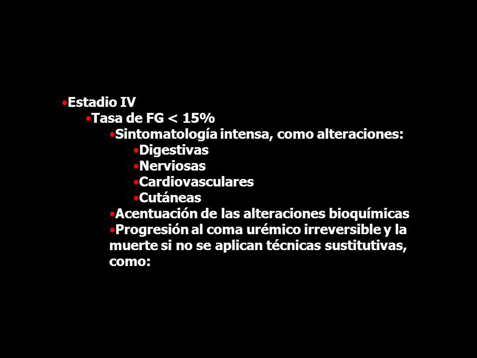 Estadio IV Tasa de FG < 15% Sintomatología intensa, como alteraciones: Digestivas. Nerviosas. Cardiovasculares.