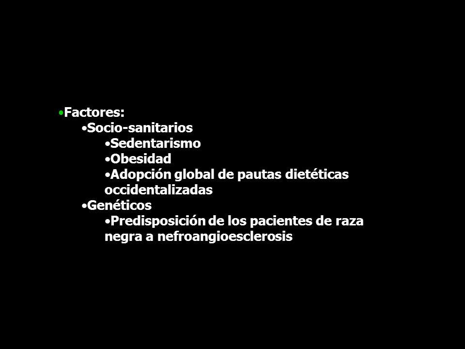 Factores: Socio-sanitarios. Sedentarismo. Obesidad. Adopción global de pautas dietéticas occidentalizadas.