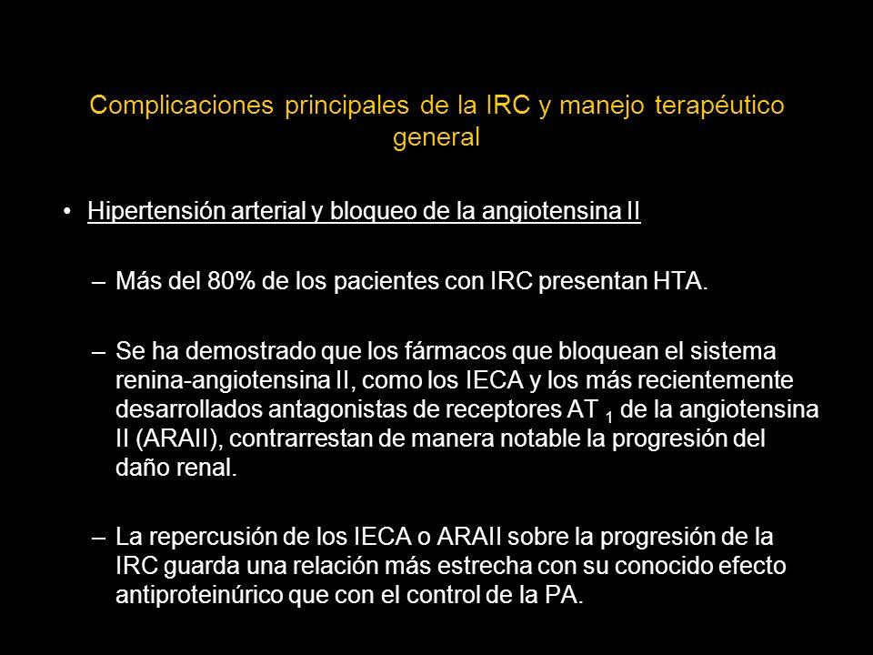 Complicaciones principales de la IRC y manejo terapéutico general