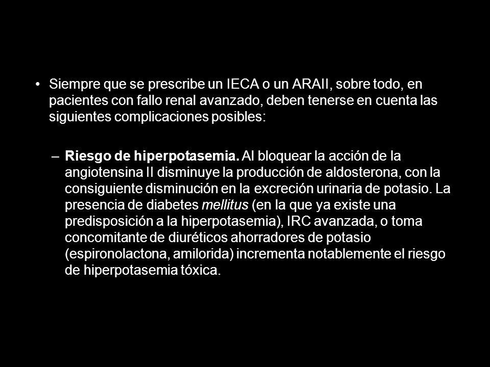 Siempre que se prescribe un IECA o un ARAII, sobre todo, en pacientes con fallo renal avanzado, deben tenerse en cuenta las siguientes complicaciones posibles: