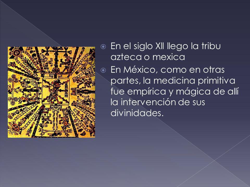 En el siglo Xll llego la tribu azteca o mexica