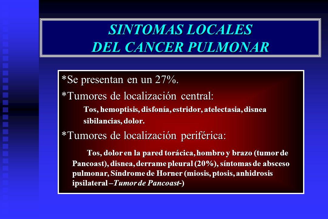 SINTOMAS LOCALES DEL CANCER PULMONAR