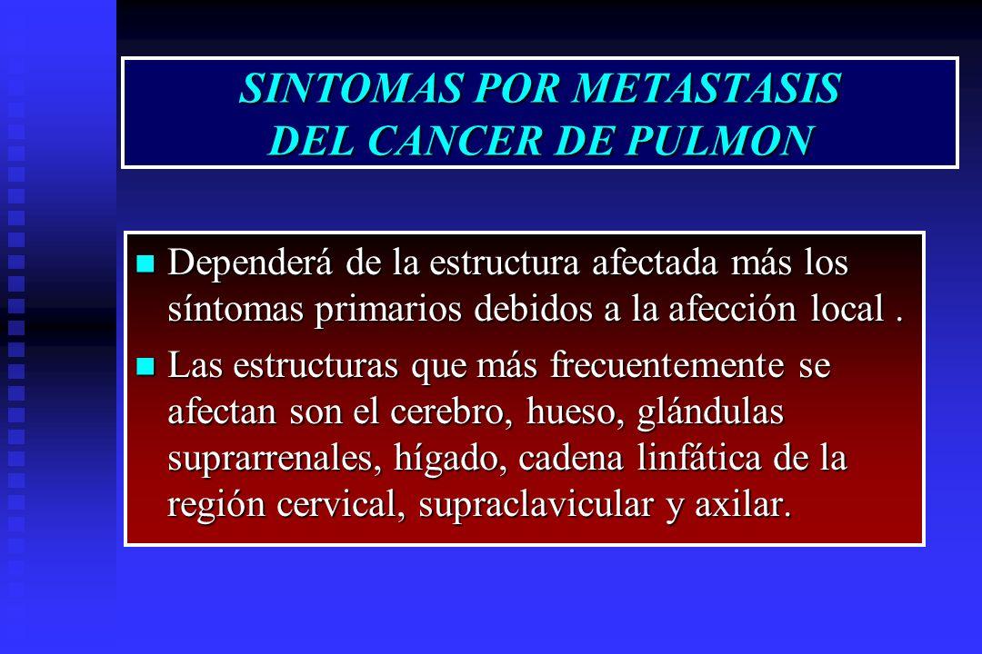 SINTOMAS POR METASTASIS DEL CANCER DE PULMON