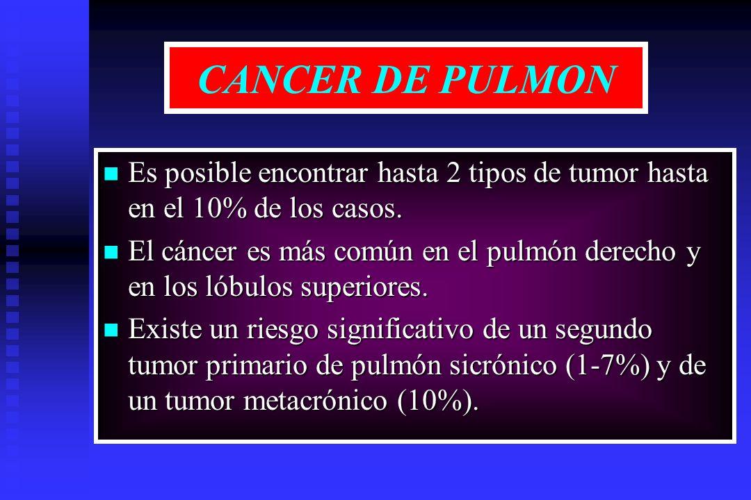 CANCER DE PULMON Es posible encontrar hasta 2 tipos de tumor hasta en el 10% de los casos.