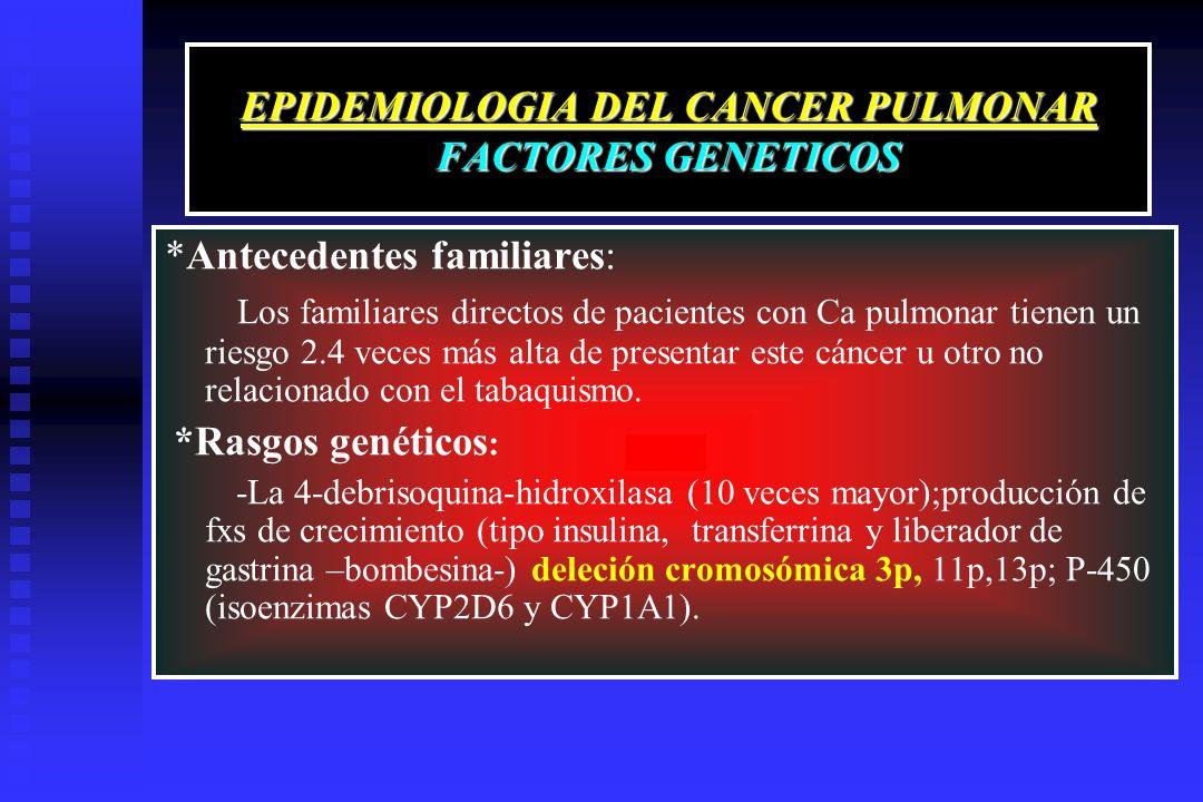 EPIDEMIOLOGIA DEL CANCER PULMONAR FACTORES GENETICOS