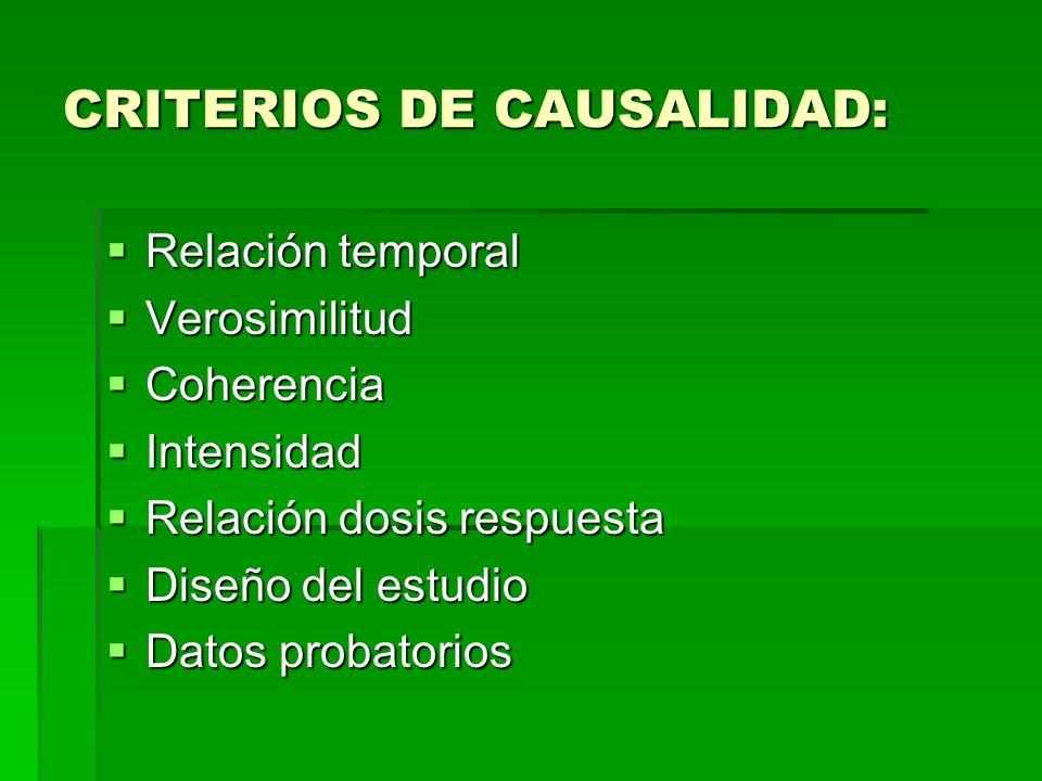CRITERIOS DE CAUSALIDAD: