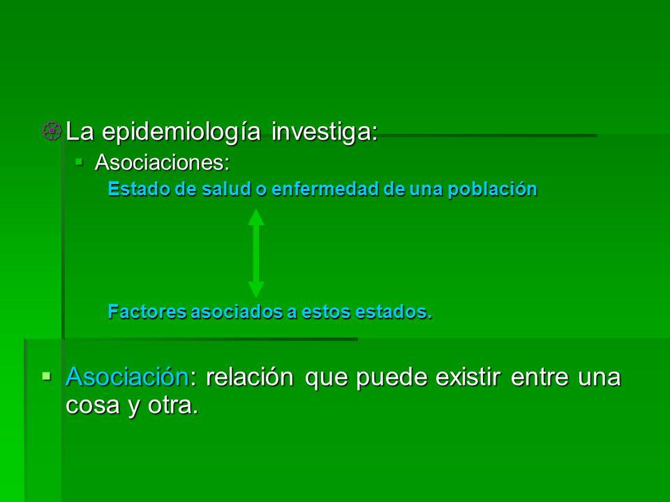 La epidemiología investiga: