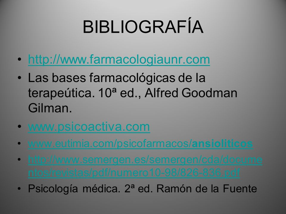 BIBLIOGRAFÍA http://www.farmacologiaunr.com