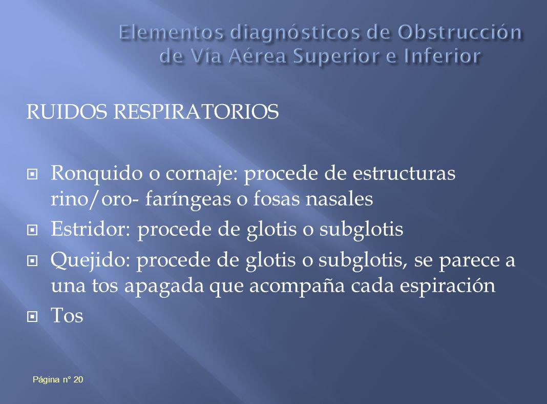 Elementos diagnósticos de Obstrucción de Vía Aérea Superior e Inferior