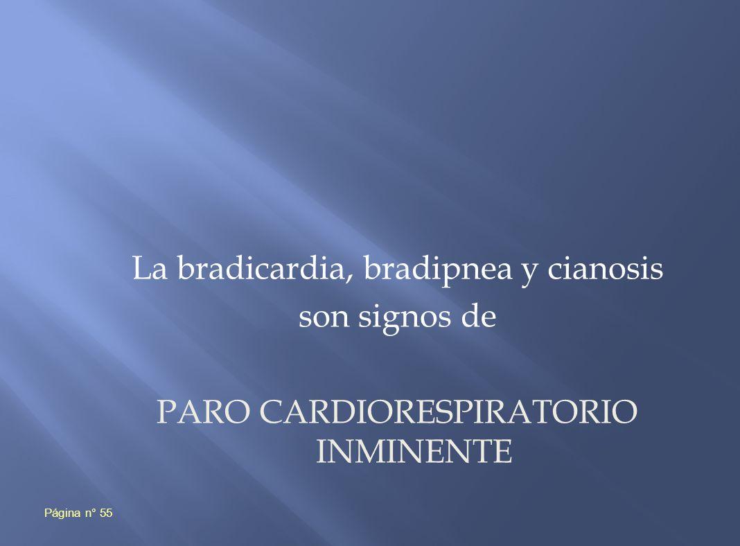 La bradicardia, bradipnea y cianosis son signos de PARO CARDIORESPIRATORIO INMINENTE