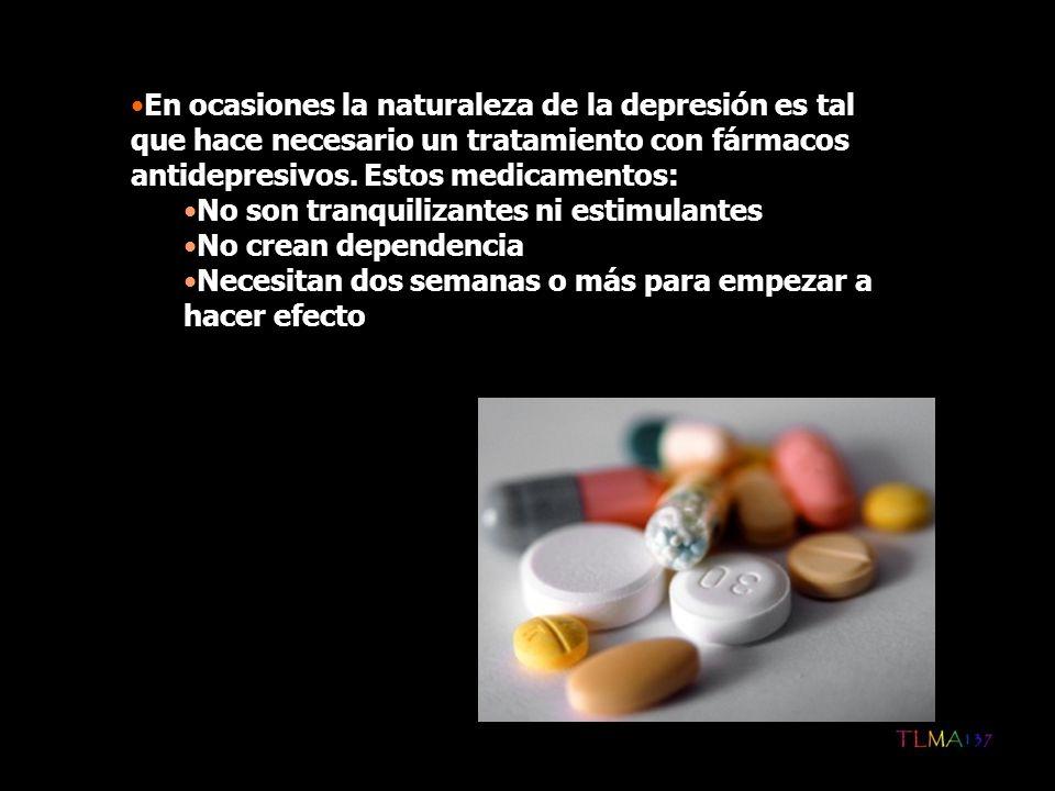 En ocasiones la naturaleza de la depresión es tal que hace necesario un tratamiento con fármacos antidepresivos. Estos medicamentos: