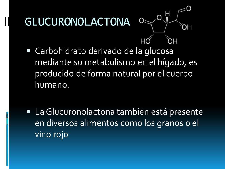 GLUCURONOLACTONA Carbohidrato derivado de la glucosa mediante su metabolismo en el hígado, es producido de forma natural por el cuerpo humano.