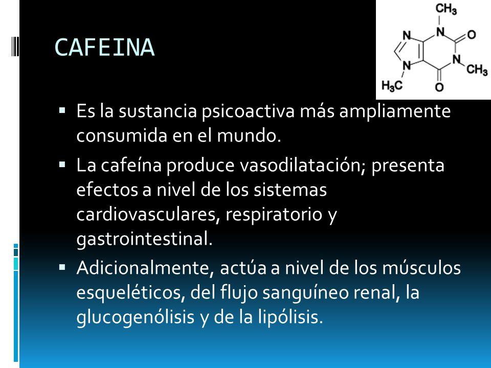 CAFEINA Es la sustancia psicoactiva más ampliamente consumida en el mundo.