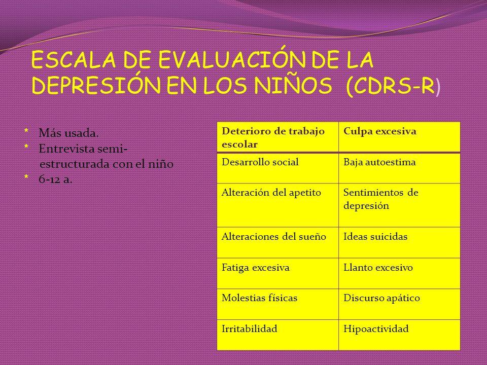 ESCALA DE EVALUACIÓN DE LA DEPRESIÓN EN LOS NIÑOS (CDRS-R)