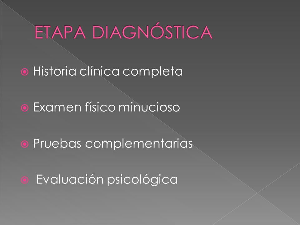 ETAPA DIAGNÓSTICA Historia clínica completa Examen físico minucioso