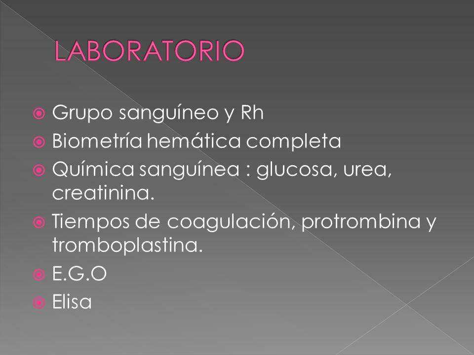 LABORATORIO Grupo sanguíneo y Rh Biometría hemática completa