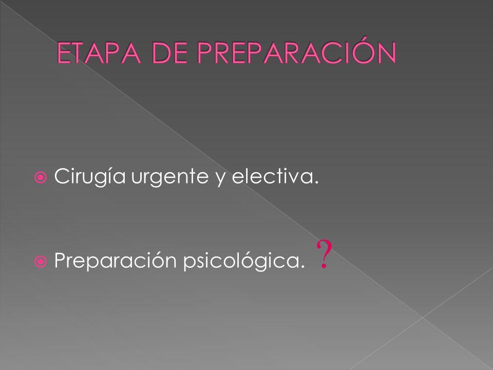 ETAPA DE PREPARACIÓN Cirugía urgente y electiva.