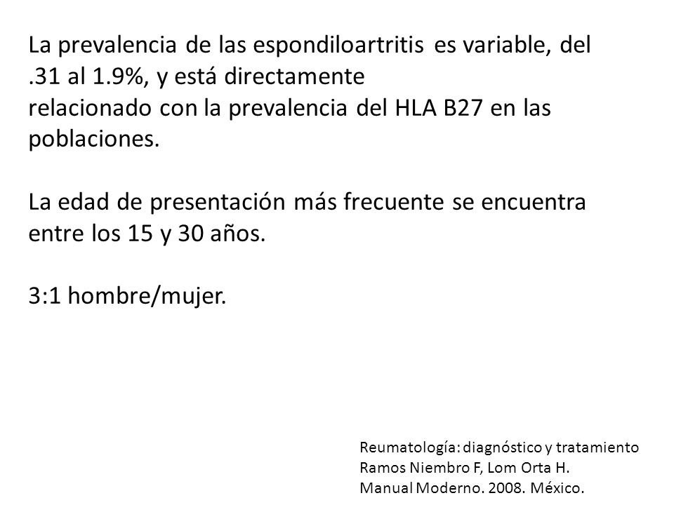 relacionado con la prevalencia del HLA B27 en las poblaciones.