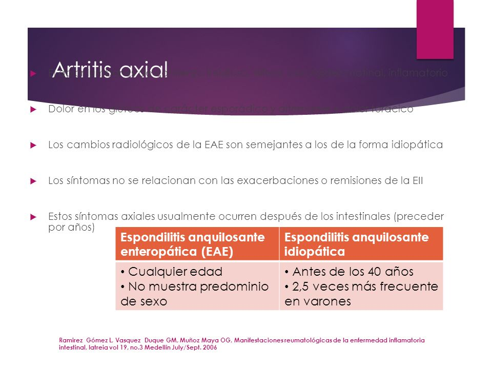 Artritis axial Espondilitis anquilosante enteropática (EAE)