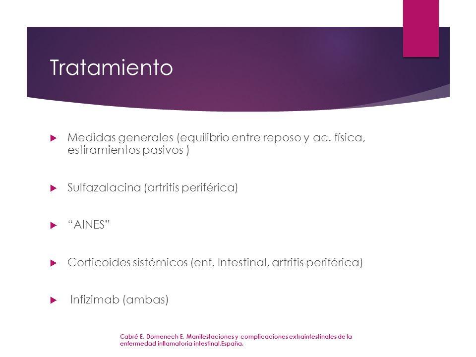 Tratamiento Medidas generales (equilibrio entre reposo y ac. física, estiramientos pasivos ) Sulfazalacina (artritis periférica)