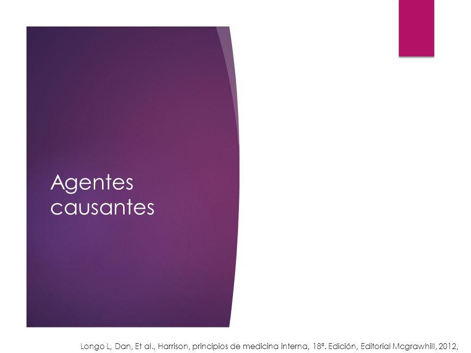 Agentes causantes Longo L, Dan, Et al., Harrison, principios de medicina interna, 18ª.