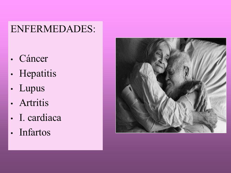 ENFERMEDADES: Cáncer Hepatitis Lupus Artritis I. cardiaca Infartos