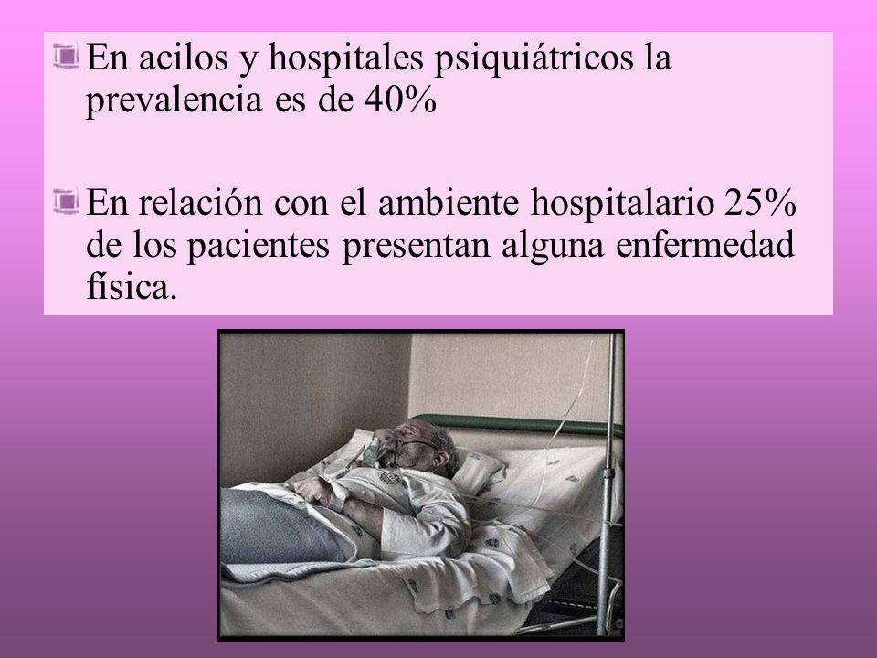 En acilos y hospitales psiquiátricos la prevalencia es de 40%
