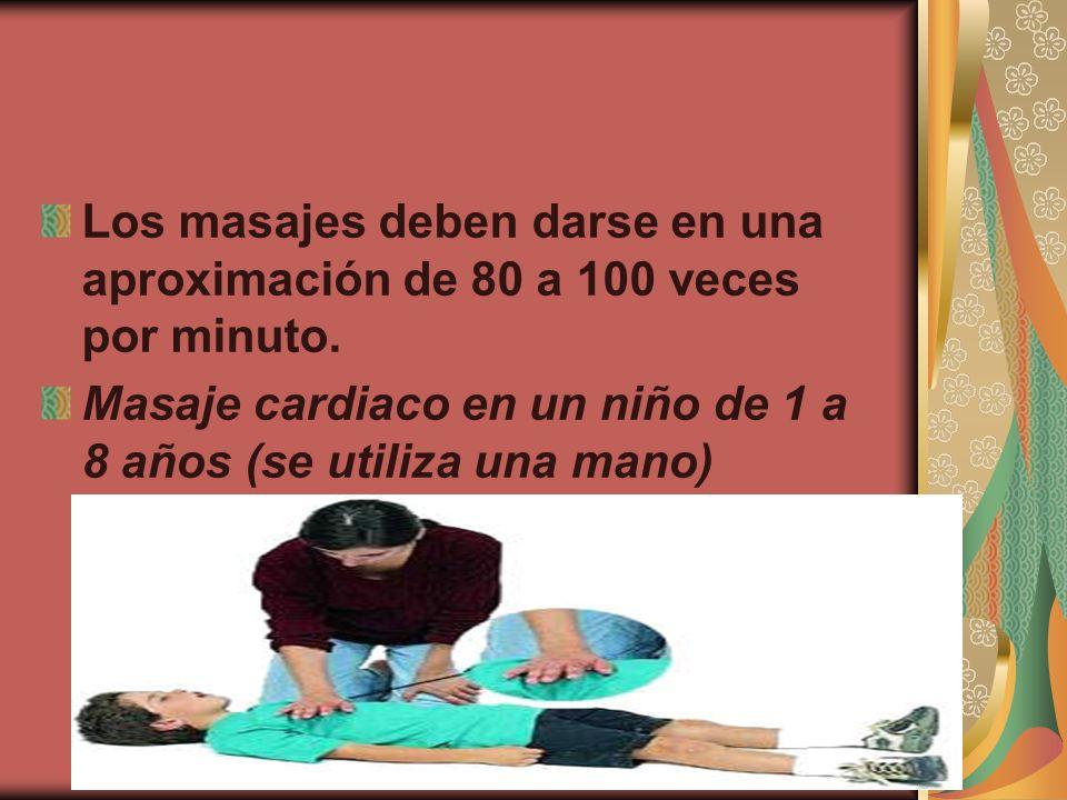 Los masajes deben darse en una aproximación de 80 a 100 veces por minuto.