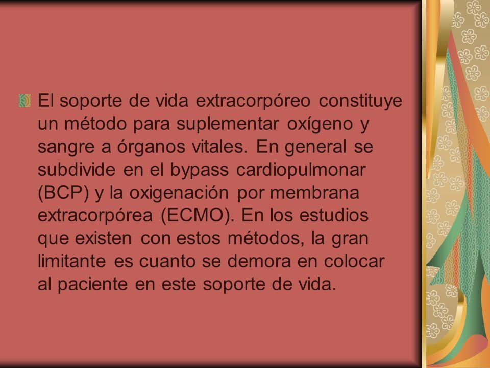 El soporte de vida extracorpóreo constituye un método para suplementar oxígeno y sangre a órganos vitales.