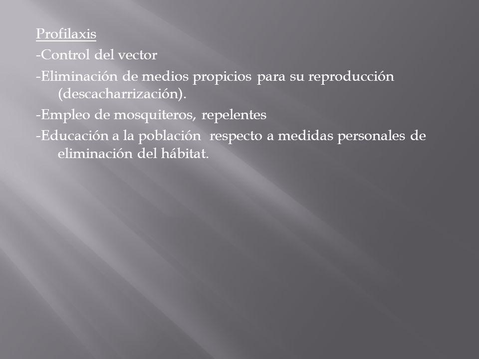 Profilaxis -Control del vector -Eliminación de medios propicios para su reproducción (descacharrización).