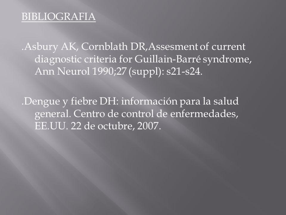 BIBLIOGRAFIA .Asbury AK, Cornblath DR,Assesment of current diagnostic criteria for Guillain-Barré syndrome, Ann Neurol 1990;27 (suppl): s21-s24.