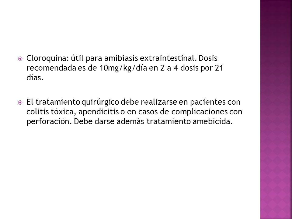 Cloroquina: útil para amibiasis extraintestinal