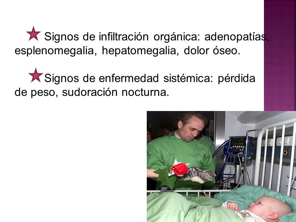 Signos de enfermedad sistémica: pérdida de peso, sudoración nocturna.