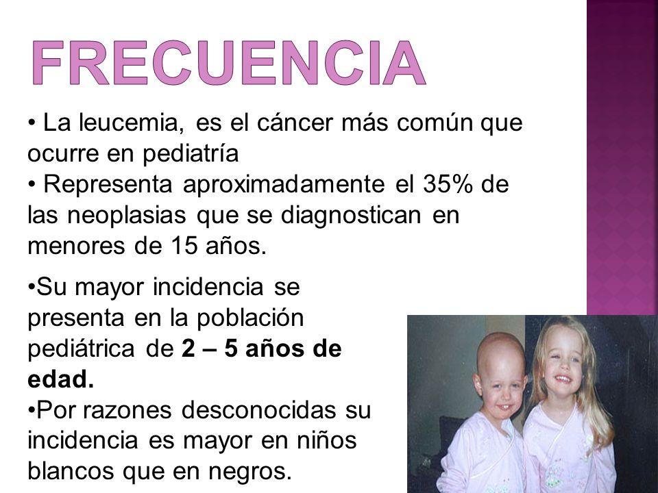 frecuencia La leucemia, es el cáncer más común que ocurre en pediatría