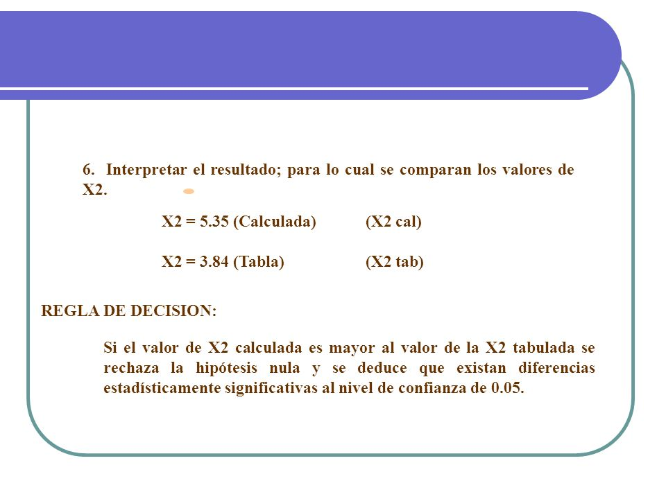 6. Interpretar el resultado; para lo cual se comparan los valores de X2.