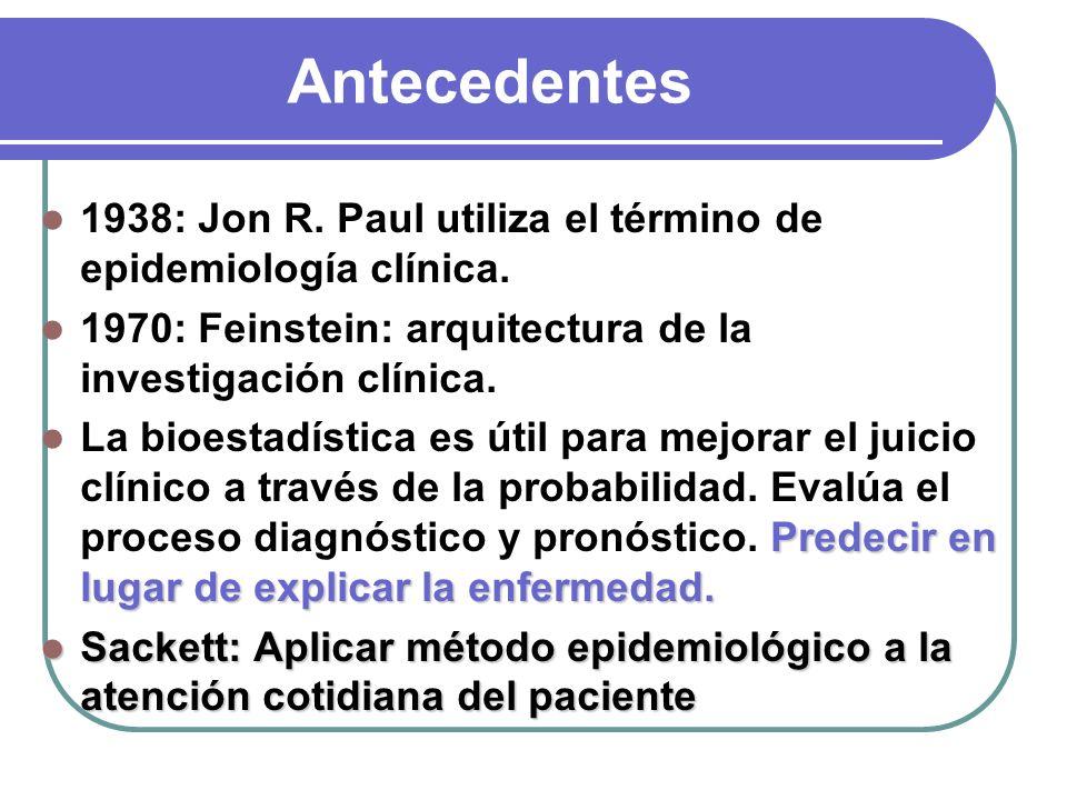 Antecedentes 1938: Jon R. Paul utiliza el término de epidemiología clínica. 1970: Feinstein: arquitectura de la investigación clínica.