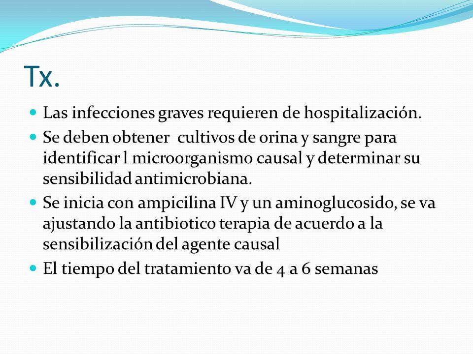 Tx. Las infecciones graves requieren de hospitalización.