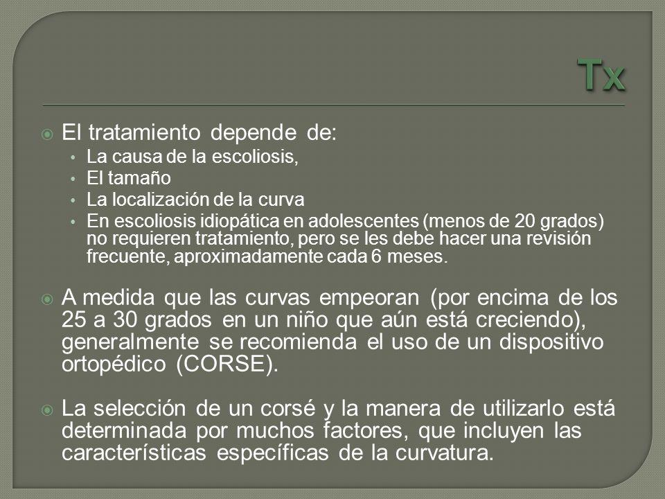 Tx El tratamiento depende de: