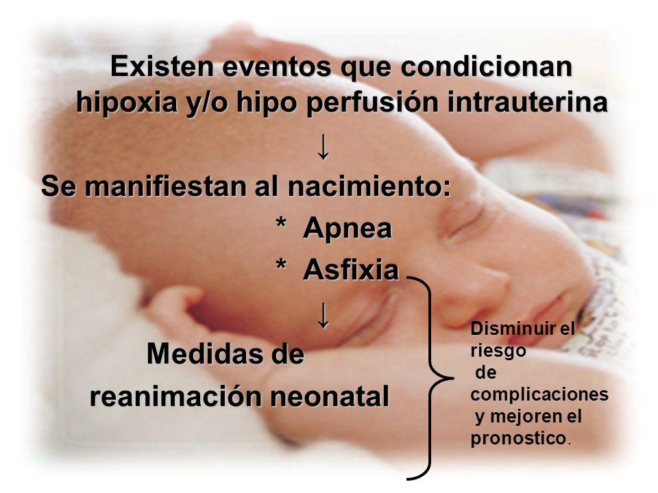 Se manifiestan al nacimiento: * Apnea * Asfixia Medidas de